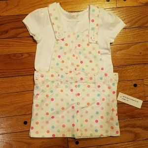Other - Cute polka dot overalls outfit